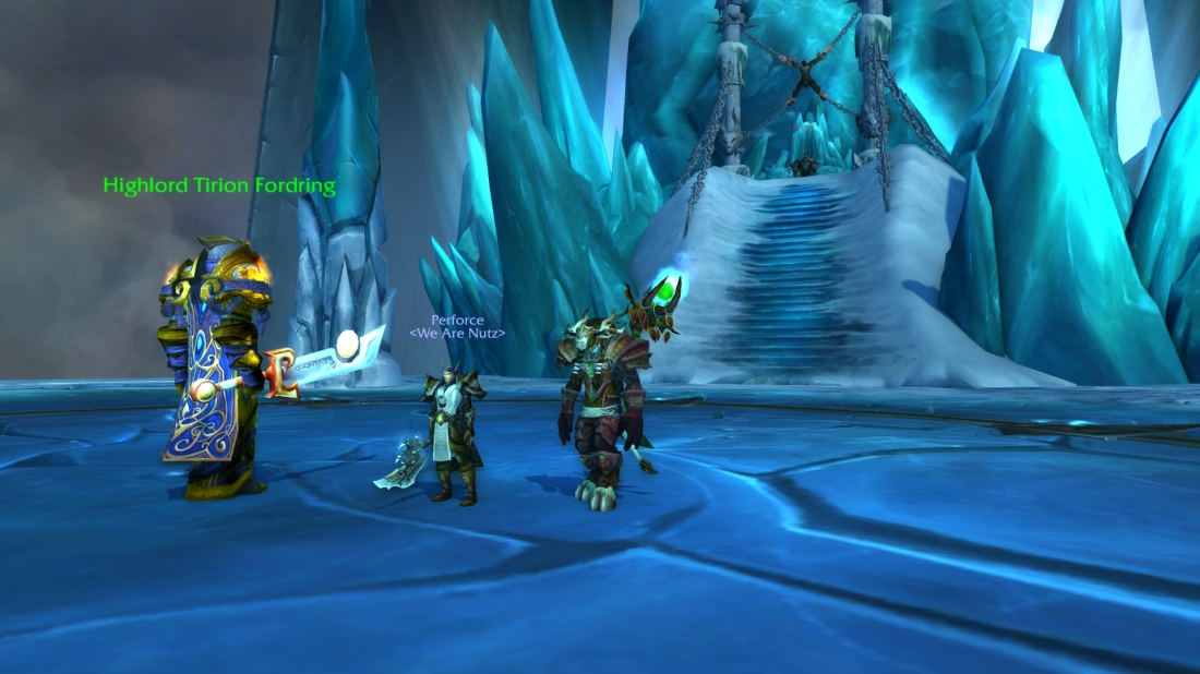 Hanging out with Tirion Fordring at the frozen throne, y'know, as I do.